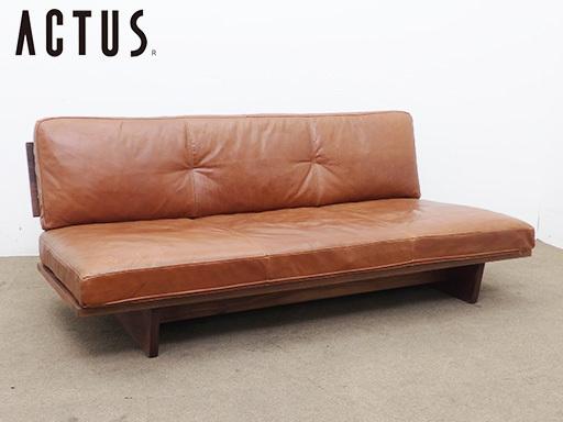 ACTUS/アクタス five by five 本革ベンチソファ